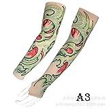 tzxdbh Manga de Tatuaje de Hielo Impresión Digital de 360 Grados Deportes al Aire Libre Montar Protector Solar Manga de Tatuaje A3 Rojo y Verde Circunferencia del Brazo del Dedo 17-50 cm Disponible