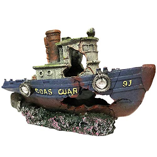 SLOCME Aquarium Large Shipwreck Decorations - Fish Tank Lifelike Ship Decor,Resin Material Large Pirate Ship Decor