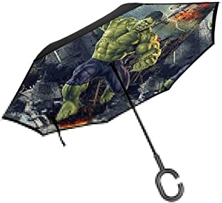 Lxjjj Green Hulk Reverse & Inverted Umbrella, Umbrella Windproof,Umbrellas for Women with UV Protection, Upside Down Umbrella with C-Shaped Handle