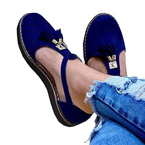 XXZ Sandalen Damen Keilabsatz Sommer Plateau Fesselriemen Schnalle Sandaletten Flache Leder Sommerschuhe Elegant Quaste Flatform Schuhe,Blau,38