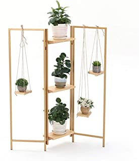 HTTSC Multilayer Wrought Iron Flower Stand Gold Foldable Living Room Bedroom Floor-Standing Plant Stand Simple Flower Pot ...