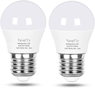 LED Refrigerator Light Bulb 40W Equivalent 120V A15 Fridge Waterproof Bulbs 5 W Daylight White 5500K E26 Medium Base Freezer Ceiling Home Lighting Lamp Non-dimmable(2 Pack)