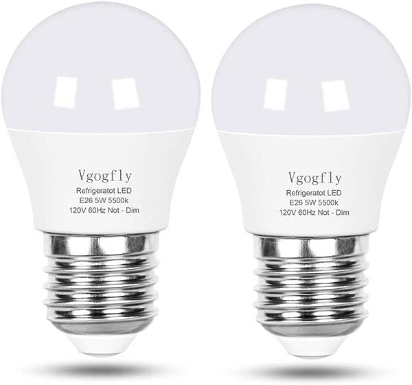 LED 冰箱灯泡 40W 相当于 120V A15 冰箱防水灯泡 5 W 日光白色 5000K E26 中等底座冷冻室天花板家用照明灯不可调光 2 个装