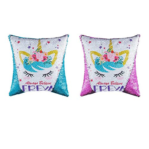 Topways® Unicorn Lentejuelas Throw fundas de almohada, Magic Reversible Color Cambiar Cojín Throw Funda de almohada para sofá cama, Unicornio Regalos para niñas Set de 2 Freya