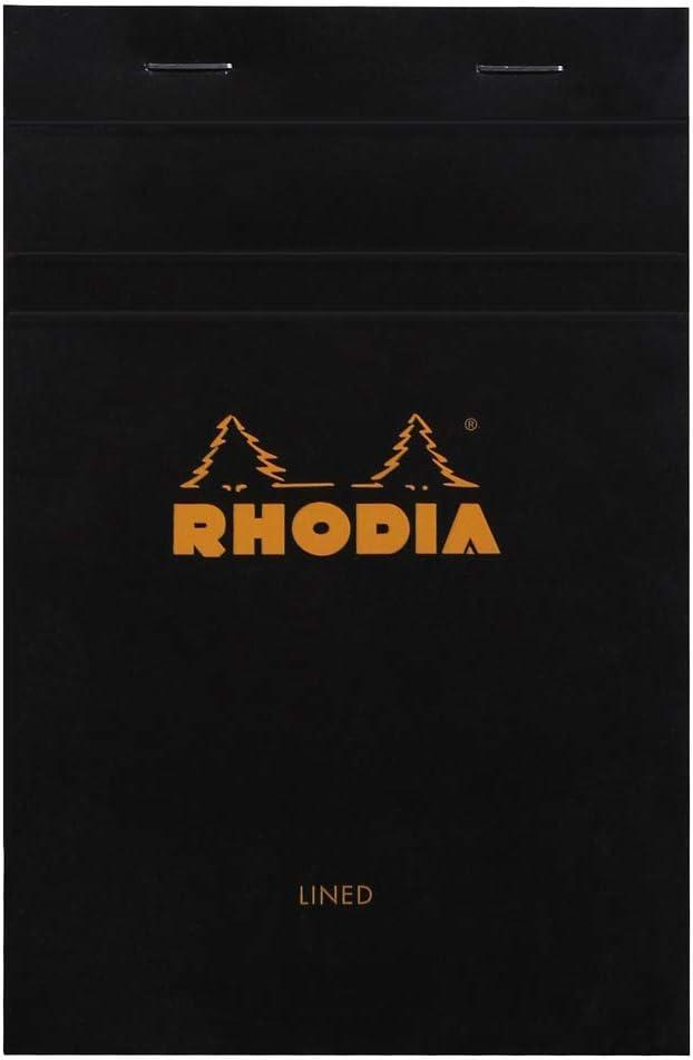 Rhodia Head Stapled Pad, No14 A6+, Lined - Black