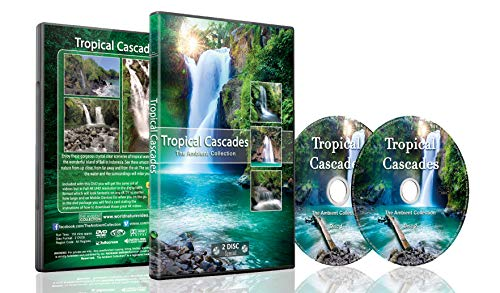 Tropical Cascades - 2 DVD Set of Waterfalls - 2 Hours of Tropical Waterfalls From Around the World with Real Waterfall and Water Sounds - Perfect to Relax with and Soothing for Bedtime