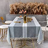 Sunbeauty Manteles Mesa Rectangular Tela Algodon Lino con Borlas Mantel Antimanchas 140x180 cm Elegante Table Cloth Rectangle para Mesa de Comedor de Cocina