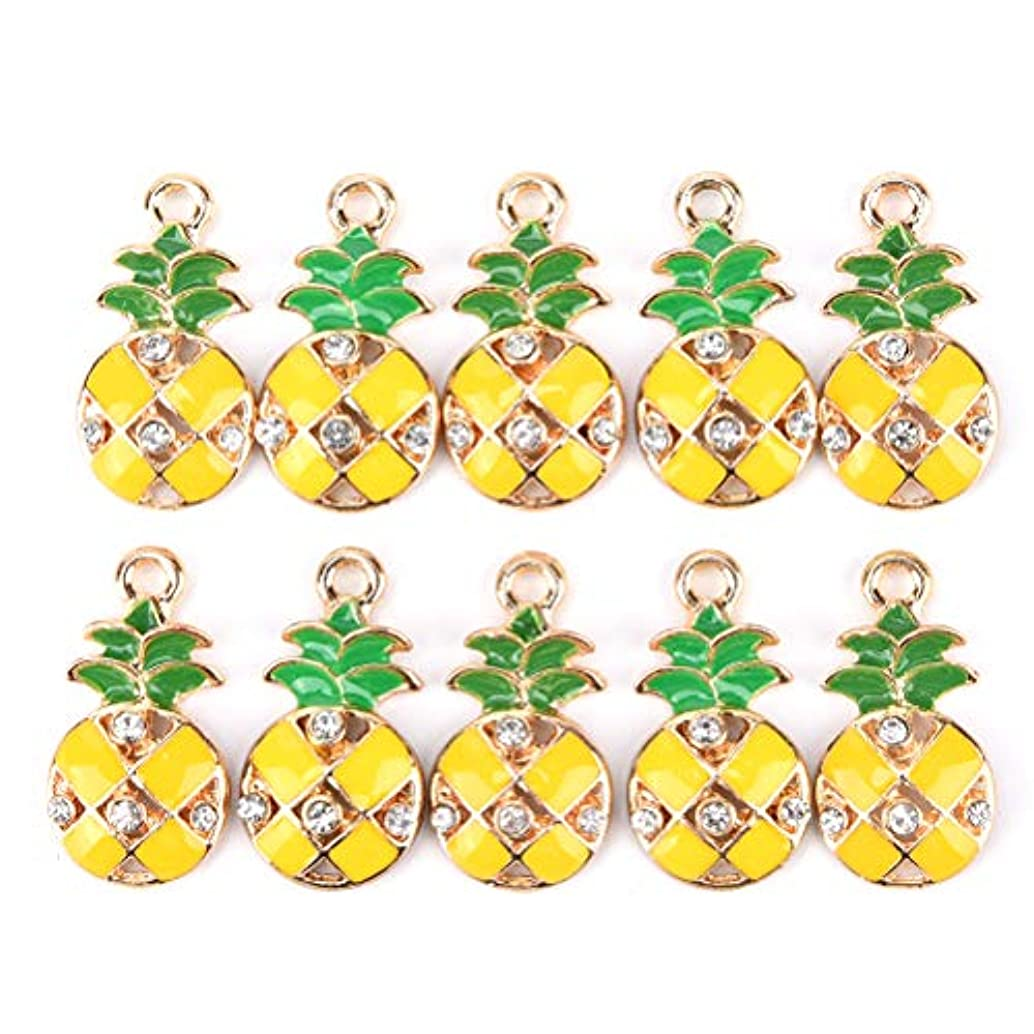 JUNKE 10-Pack Mini Plated Enamel Pineapple Charm Beads Rhinestone Charms Pendants Gift bead bracelet Accessories Jewelry Making Supplies DIY Crafts for Women Girls Kids, 12×23mm (Rhinestone pineapple)