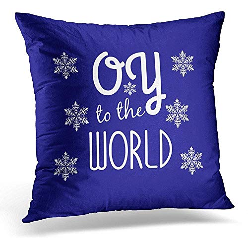 SPXUBZ Funny Hanukkah Oy to The World Holiday Chanukah Cotton Throw Pillow Cover Home Decor Nice Gift Indoor Pillowcase Standar Size (Two Sides)
