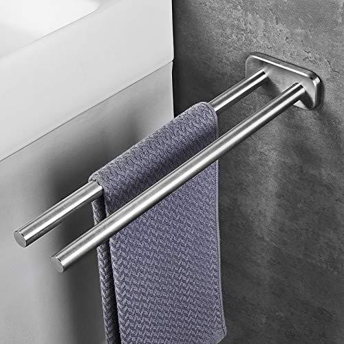 JS Handtuchhalter Edelstahl Gebürstet Bad Handtuchstange Zweiarmig Wandmontage Badezimmer handtuchhalter 40cm
