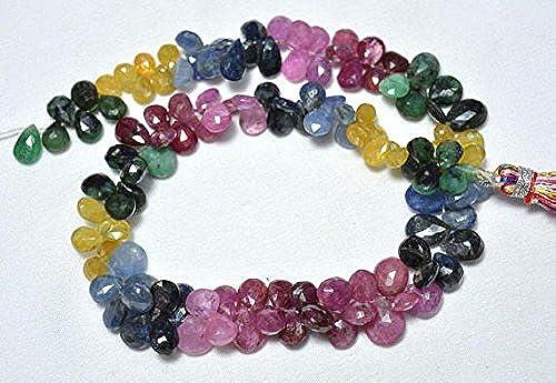 Cuentas de piedras preciosas de zafiro múltiple, perlas en forma de pera esmeralda, cuentas de rubí, piedras preciosas para joyas, 7 x 5 mm – 6 x 8 mm, 13 pulgadas de hebra