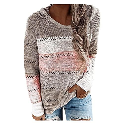 Womens Fall Lightweight Crewneck Sweaters Fashion Color Block Hooded Sweatshirt Casual Long Sleeve Tops Hollow Shirt