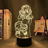 Lámpara de noche 3D, ilusión 3D, Anime Toujou Koneko, lámpara 3D, High School DxD LED Night Light para niñas y niños, decoración de habitación de tujou Koneko, Navidad, cumpleaños, mesa, 7 colores