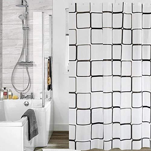 180 x 200 cm Duschvorhang,Weiß Groß Kariert Muster Blickdicht & Wasserabweisend Shower Curtains mit 16 Duschvorhangringen für Wohnheim Familie Apartment Hotel
