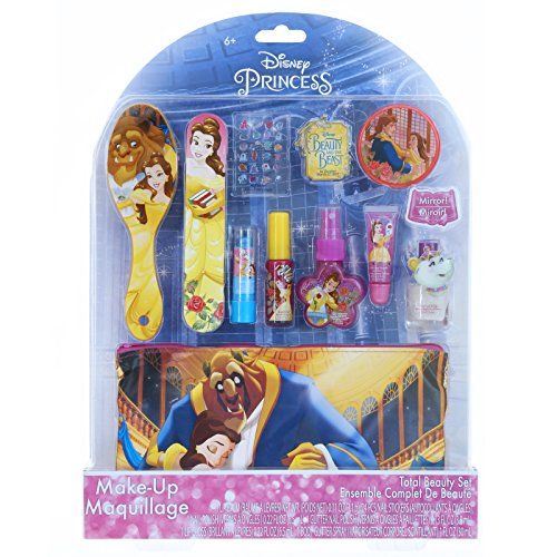 Townley Girl Disney Beauty and The Beast Cosmetic Set, Nail Polish, Lip Gloss, Glitter Spray, Brush, Mirror & Bag