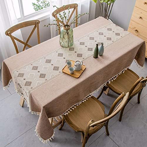 N/X TAOTON Mantel clasico Mesa de Comedor de Estilo etnico Bandera de algodon y Lino Mesa de Centro Simple Zen Cubierta de Mesa de Centro Mesa de Comedor Moderna de Color solido Simple