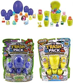 The Trash Packs Series 6 Rotten Eggs with 12 Trashies Pack & Series 5 Toilets with 12 Trashies Pack Figure Bundle
