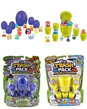 Trash Pack The Series 6 Rotten Eggs with 12 Trashies Pack & Series 5 Toilets with 12 Trashies Pack Figure Bundle