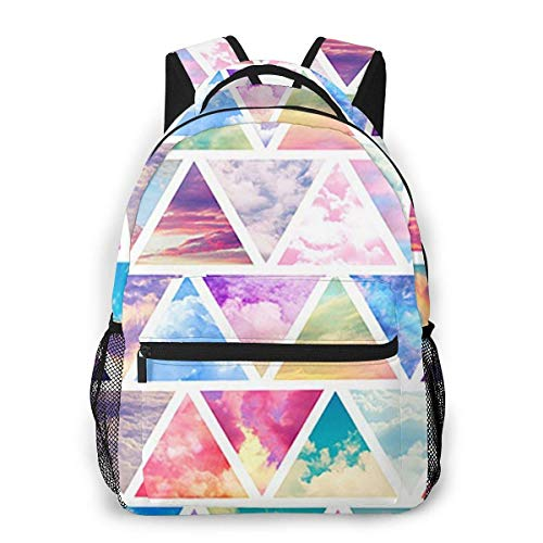 Lawenp Fashion Unisex Backpack Rainbow Triangle Bookbag Lightweight Laptop Bag for School Travel Outdoor Camping