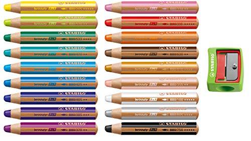 Stabilo Woody - Set di matite colorate 3 in 1, in legno, colori assortiti, 18 Stifte mit Anspitzer, Sortiert | 18 Farben, 1