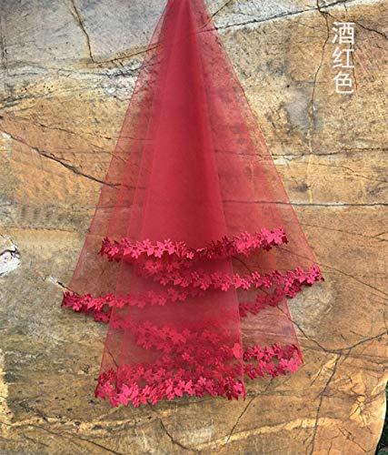 Charm4you Velo de Novia 1 Pieza Velo Vestido de Novia pequeño Encaje Accesorios de Boda Nupcial Velo-Vino Rojo_100 * 135cm,Velo romántico para el Cabello con Encaje