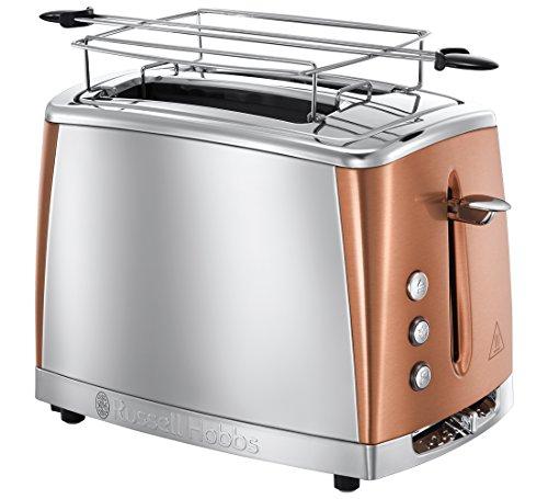 Russell Hobbs Toaster Luna Edelstahl/Kupfer, inkl. Brötchenaufsatz, 6 einstellbare Bräunungsstufen + Auftau- & Aufwärmfunktion, Schnell-Toast-Technologie, 1550W, 24290-56