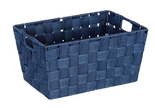 WENKO Cesto para baño Adria S azul oscuro - Cesta para el baño, Polipropileno, 30 x 15 x 20 cm, Azul oscuro