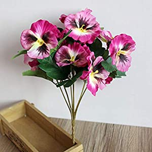 Silk Flower Arrangements XISENOCI 1Pc Artificial Flower Pansy for Home, Indoor and Outdoor DIY Decoration, Wedding Garden Stage Office Shop, Multiple Colors Purple Red
