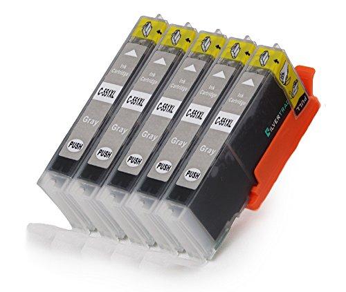 5 Multipack komp. XL Druckerpatronen für Canon Pixma iP8750 iX6850 MG5655 MG6350 MG6450 MG7150 MG7550 kompatibel 5 x 551GY XL grau mit Chip