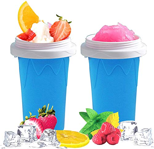 Slushy Maker Ice Cup Travel Portable Double Layer Silica Cup Homemade Milk Shake Ice Cream Maker DIY it for Children and Family (blue)