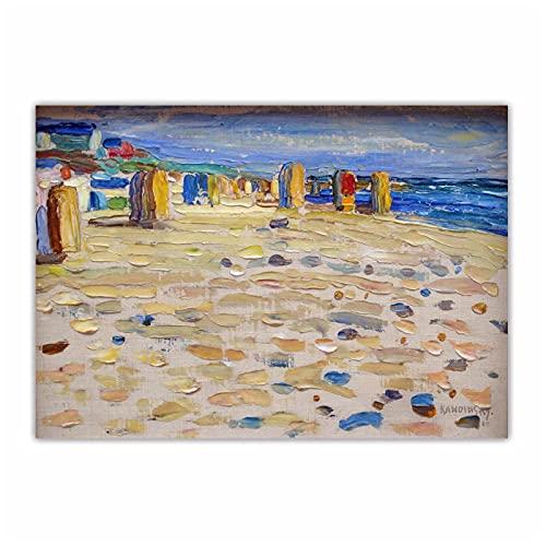 IUYBHRYI Wassily Kandinsky 《Holanda, sillas de Playa》 Lienzo Abstracto Pintura al óleo Obra de Arte Imagen de Pared Decoración del hogar-60x90cm Sin Marco