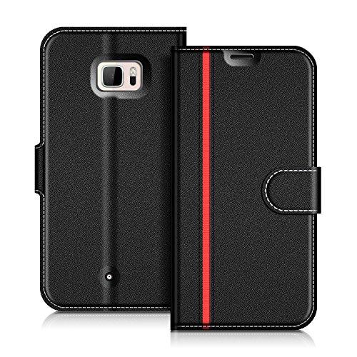 COODIO Handyhülle für HTC U Ultra Handy Hülle, HTC U Ultra Hülle Leder Handytasche für HTC U Ultra Klapphülle Tasche, Schwarz/Rot