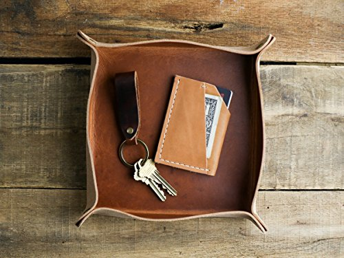 Horween Leather Valet Tray in English Tan | Leather Catch All for Men | Travel Valet Tray Desk Organizer