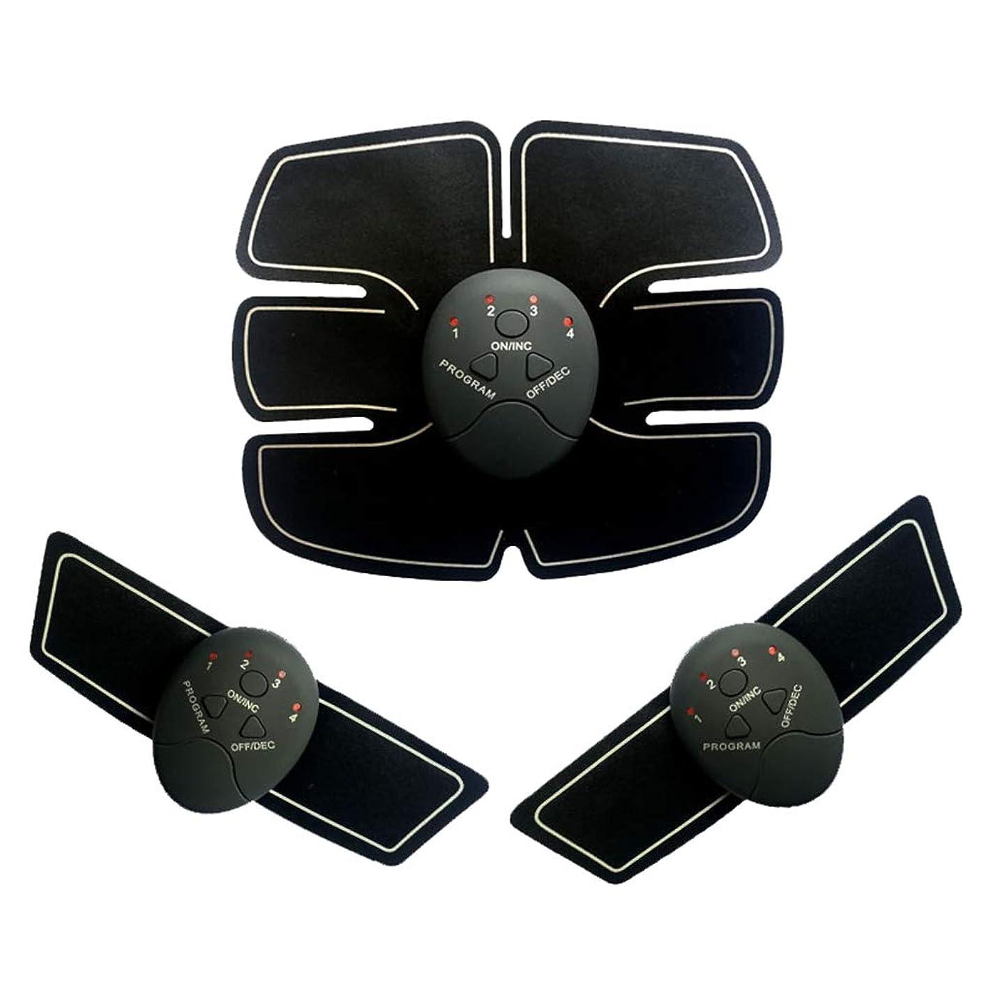 中世の主人陸軍Ab調色ベルトウエストフィットネス薄いベルト、EMS腹筋トレーナー筋肉刺激ボディービル腹部ベルトホームインテリジェント筋肉トレーニングフィットネス機器筋肉腹部トレーナー (Color : BLACK, Size : 19*20CM)