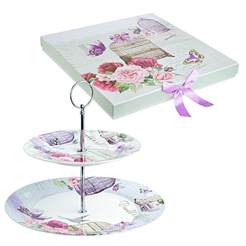 2 Tiered Cake Stands Plates Porcelain Lilac Lavender Rose Floral Design Gift Box (Lalic Summer Garden) (Kitchen & Home)