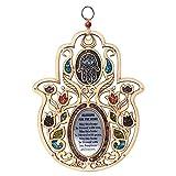 Anandashop Evil Eye Stone Hand of Fatima Wood Wall Hanging Hamsa Home Decor Ornament Blessing Protection Symbol Gift