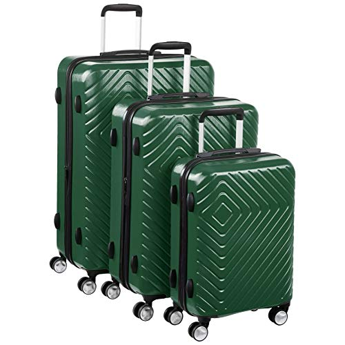 AmazonBasics Geometric Luggage - 3 piece Set (55cm, 68cm, 78cm), Green