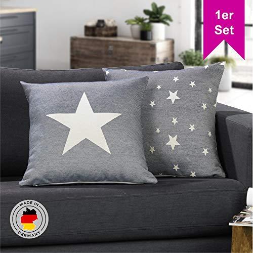 LILENO HOME ster kussensloop (45x45 cm) - leuke ster decoratie kussen overtrek als sofakussen in de woonkamer - sterren kussenhoezen voor kussenvulling als knuffelkussen en decoratief kussen
