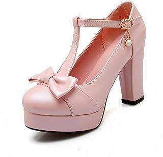 últimos estilos VIVIOO VIVIOO VIVIOO Tacones Altos 10 cm t - Correa de Mujer Bombas Zapatos de Plataforma de Punta rojoonda Mujer Zapatos de Fiesta de Color Caramelo sólido  servicio de primera clase