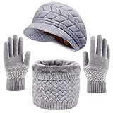 CheChury Cappelli Inverno Donne Berretto Lavorato a Maglia Cappello Caldo Guanti e Sciarpa 3 Pezzi Ciclo Sciarpa Touch Screen Guanti Scaldacollo per Sci all'aperto