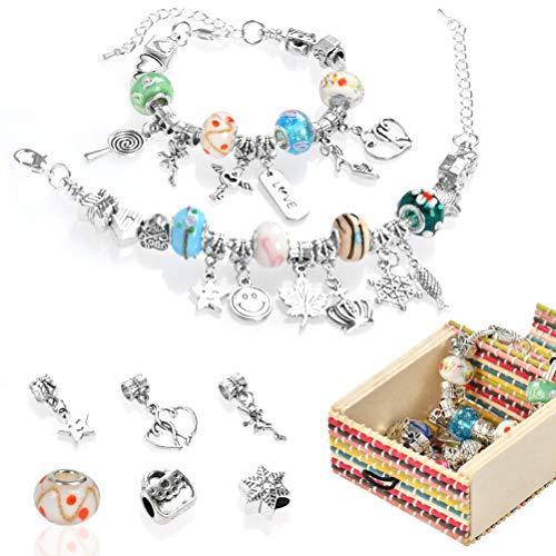 FOCCTS 3cps Kit perline fai da te Fai braccialetti con pendenti Set europeo Regalo gioielli Gioielli in argento placcato serpente perline Ragazze