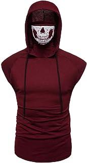 Men's Mask Skull Pure Color Pullover Sleeveless Hooded Sweatshirt Tops Blouse