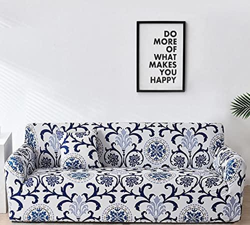 Funda Sofa 3 Plazas Fundas para Sofa Jacquard Azul Bohemio Fundas de Sofa Elasticas Fundas para Sofá Ajustables Estampada Cubre Sofa con 1 Funda de Cojín