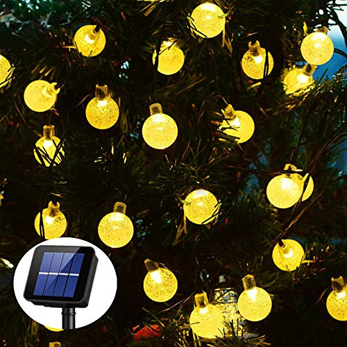 Globe Solar String Lights, 40ft 100 LED Outdoor Bulb String Lights, Garden Solar Lights, Waterproof 8 Modes Solar Patio Lights for Patio, Garden, Gazebo, Yard, Christmas[Energy Class A+++]