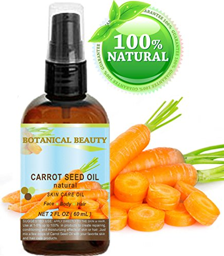 """CARROT SEED OIL 100 % Natural Cold Pressed Carrier Oil. 2 Fl.oz.- 60 ml. Skin, Body, Hair and Lip Care. """"One of the best oils to rejuvenate and regenerate skin tissues."""" by Botanical Beauty"""