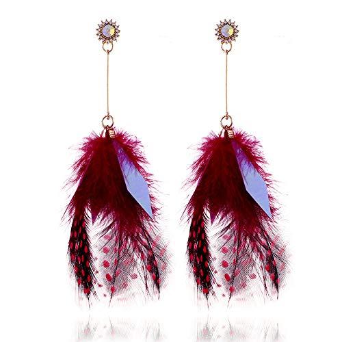 Pendientes de plumas exagerados europeos y americanos Pendientes largos de moda para mujer-Fucsia