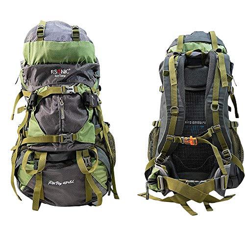 RSonic Wanderrucksack | Reiserucksack | Rucksack | Aircomfort System | 50 Liter (45+5 Liter) | Wasserdicht | Trekkingrucksack | Campingrucksack | inkl. Regenschutz | Grün…