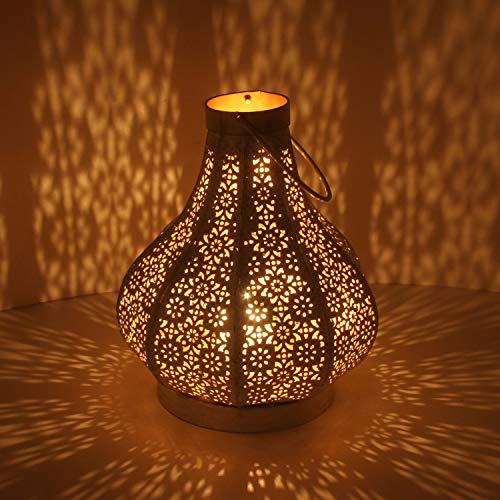 Orientalische Laterne aus Metall Rajana M in Shabby Chic Weiss Gold Höhe 26cm   Marokkanisches Windlicht hängend & stehend   Tischlaterne für Hochzeit Feier Dekoration Weihnachten Geschenk   IRL4010