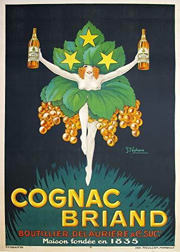 Vintage bieren, wijnen en sterke drank 'Cognac Briand', 1926, 250gsm Zacht-Satijn Laagglans Reproductie A3 Poster