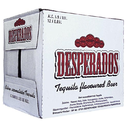 DESPERADOS 12x Botellas de Cerveza con Tequila 5,9% Vol. Alcohol, Botellas Desechables de 0,65L c/u